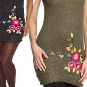 Вышивка на вязаной одежде